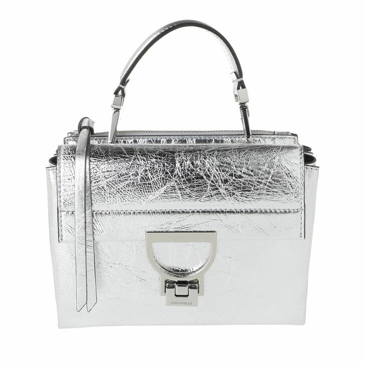 Handtasche, Coccinelle, Handbag Laminated Leather Silver