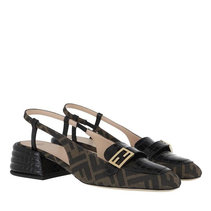 Schuh, Fendi, Logo Strap Pumps Black Brown