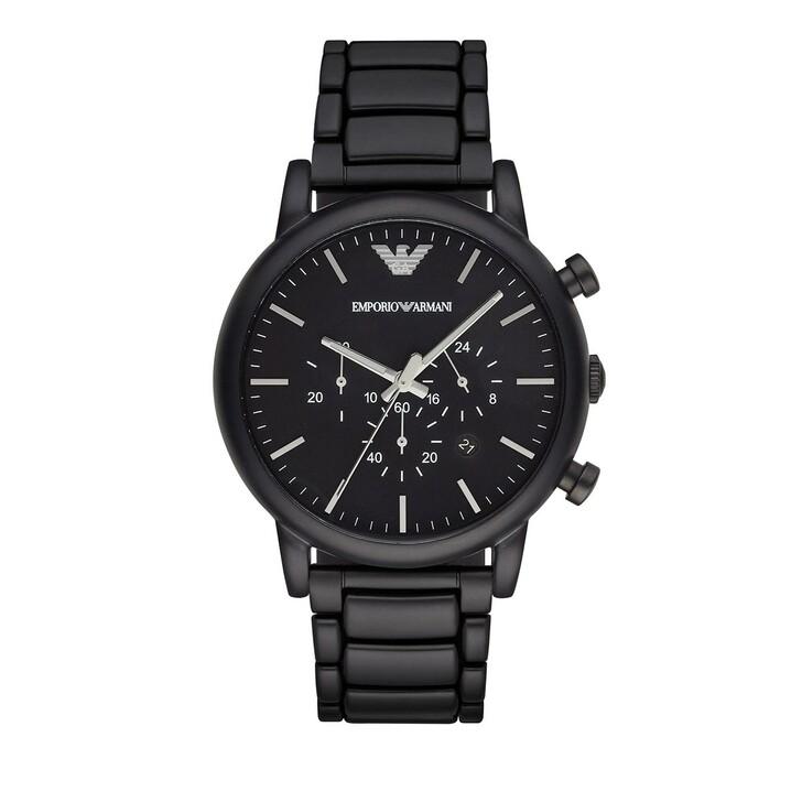 Uhr, Emporio Armani, Men's Chronograph Stainless Steel Watch Black