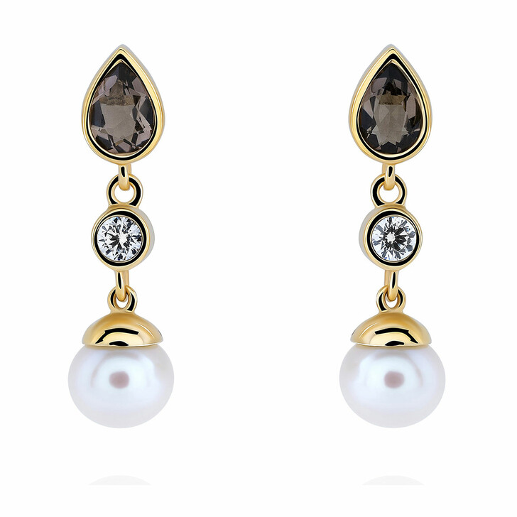 Ohrring, Orphelia, Earrings Smokey Quartz & Fresh Water Pearl Yellow Gold