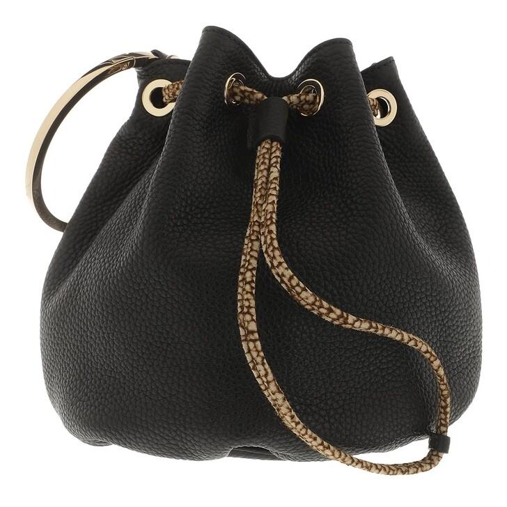 Handtasche, Borbonese, Small Bucket Bag Black