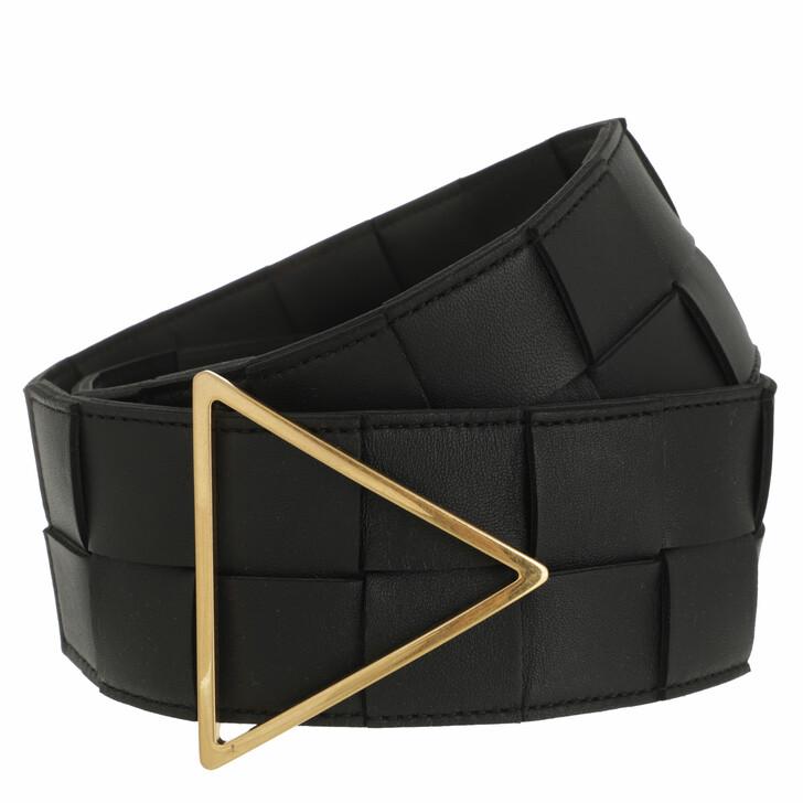 belts, Bottega Veneta, Maxi Belt Intreccio Leather Black/Gold