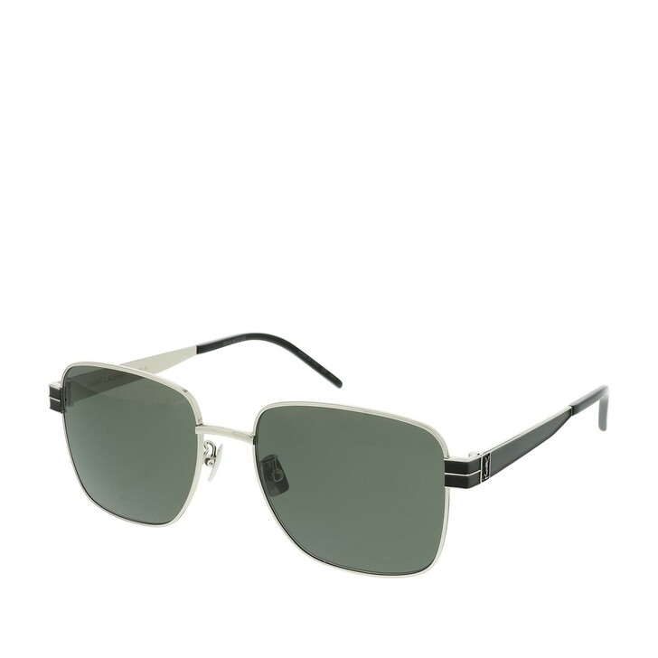 Sonnenbrille, Saint Laurent, SL M55-002 57 Sunglasses Silver-Black-Grey