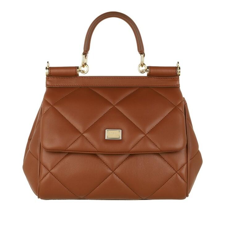 Handtasche, Dolce&Gabbana, Sicily Small Handle Bag Cognac