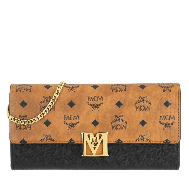 wallets, MCM, Mena Visetos Leather Block Wallet On Chain Large Black