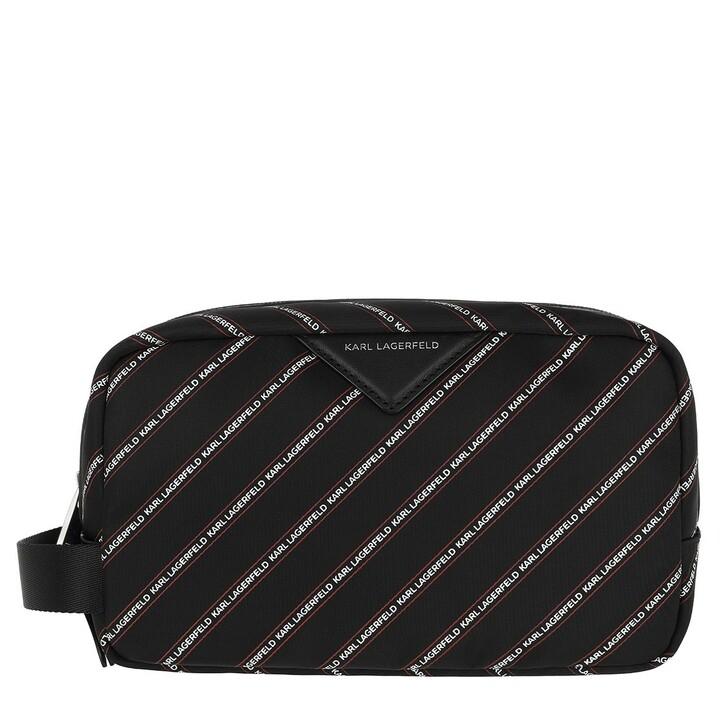 necessaires, Karl Lagerfeld, Stripe Logo Nylon Washbag Black