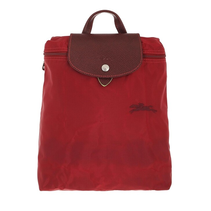 bags, Longchamp, Le Pliage Green Backpack Red