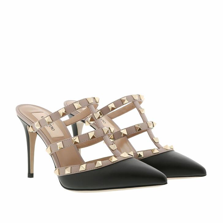 Schuh, Valentino Garavani, Rockstud Pump Mules Black Poudre