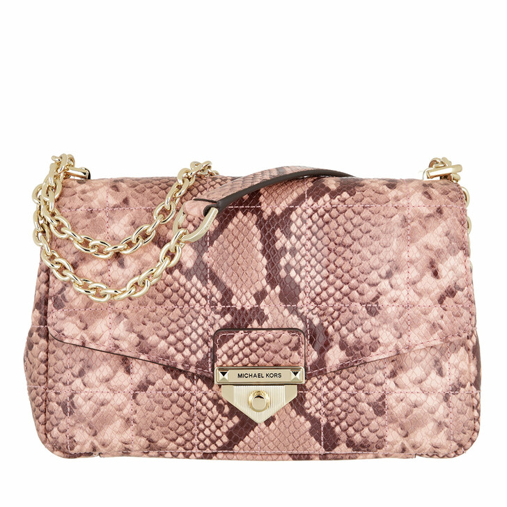 bags, MICHAEL Michael Kors, Large Chain Shoulder Shell Pink