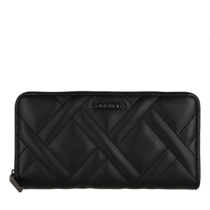 wallets, Calvin Klein, CK Quilt Z/A Wallet Large CK Black