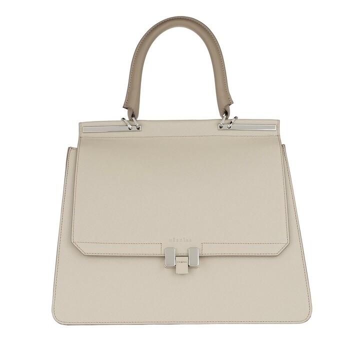 "Handtasche, Maison Hēroïne, Marlene Handle Bag 13"" Delicate Sand/Delicate Sand Nappa/Silver"