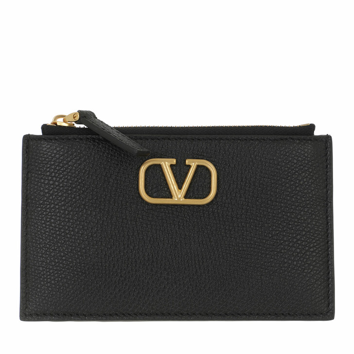 wallets, Valentino Garavani, V Logo Signature Card Holder Leather Black