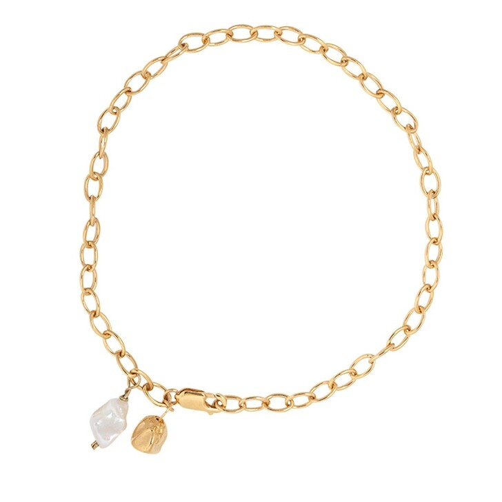 necklaces, Released From Love, Keshi Pearl & Cast Pearl Choker Gold Vermeil