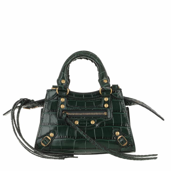 Handtasche, Balenciaga, Neo Classic City Nano Bag Embossed Croc Forest Green