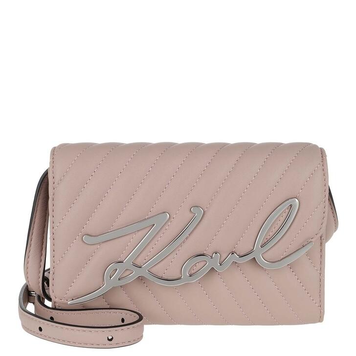 belts, Karl Lagerfeld, Signature Stitch Belt Bag Powder Pink