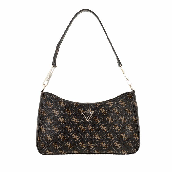 bags, Guess, Layla Top Zip Shoulder Bag Brown Logo