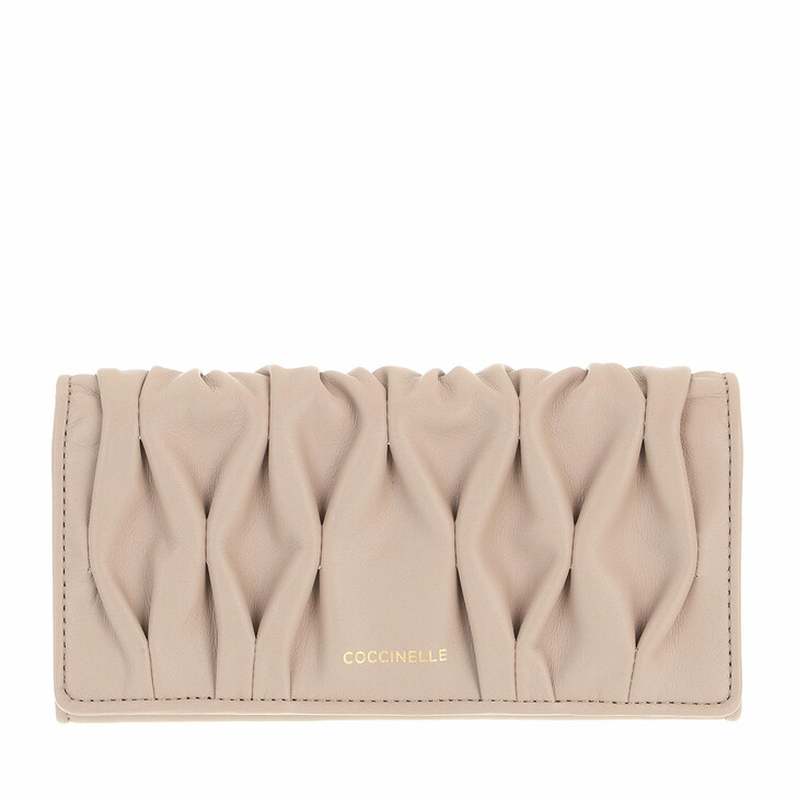 wallets, Coccinelle, Wallet Smooth Calf Leather Soft  Powder Pink