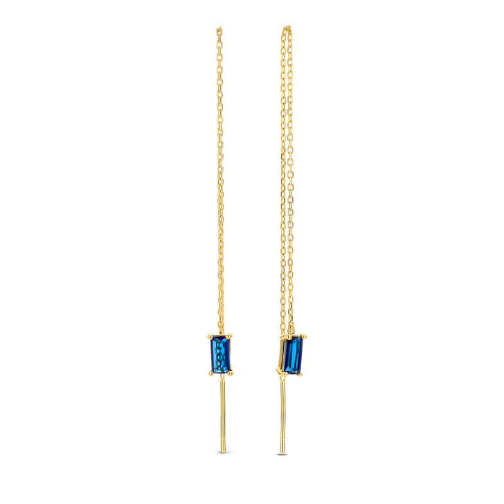 earrings, Isabel Bernard, Baguette Fey 14 Karat Drop Earrings