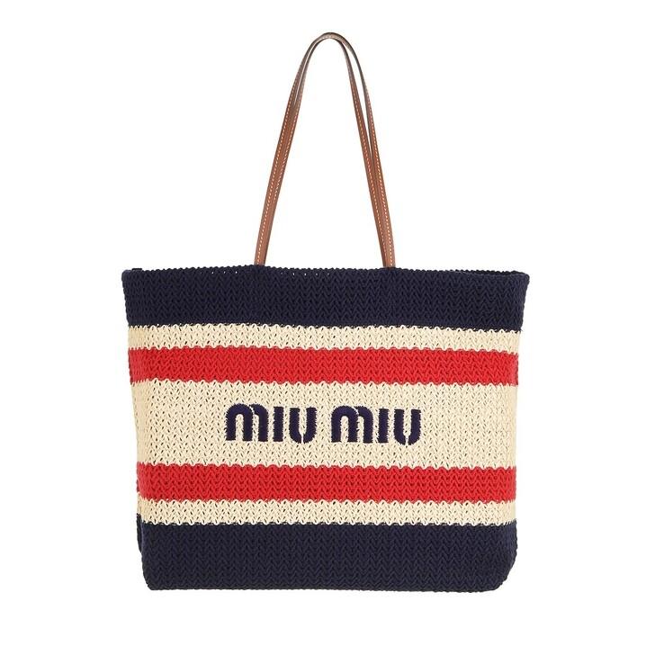bags, Miu Miu, Tote Bag Raffia And Cotton Beige/Blue