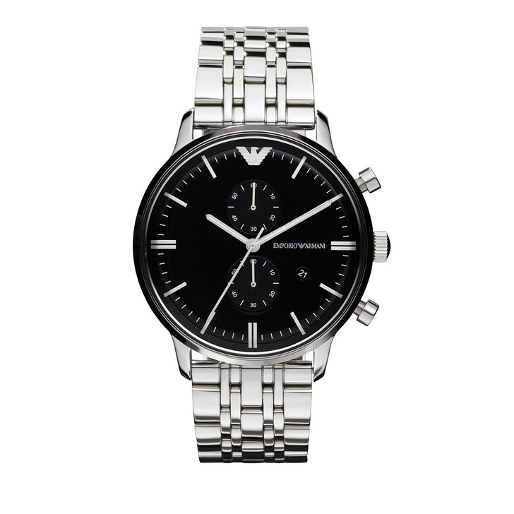Uhr, Emporio Armani, Men's Chronograph Stainless Steel Watch Silver