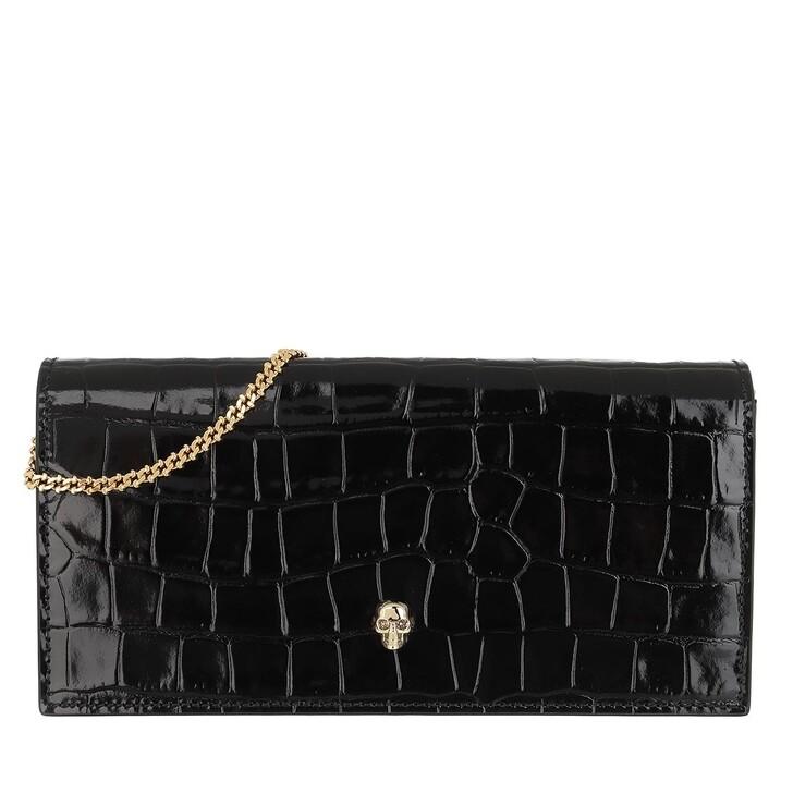 bags, Alexander McQueen, Croco Print Clutch Black