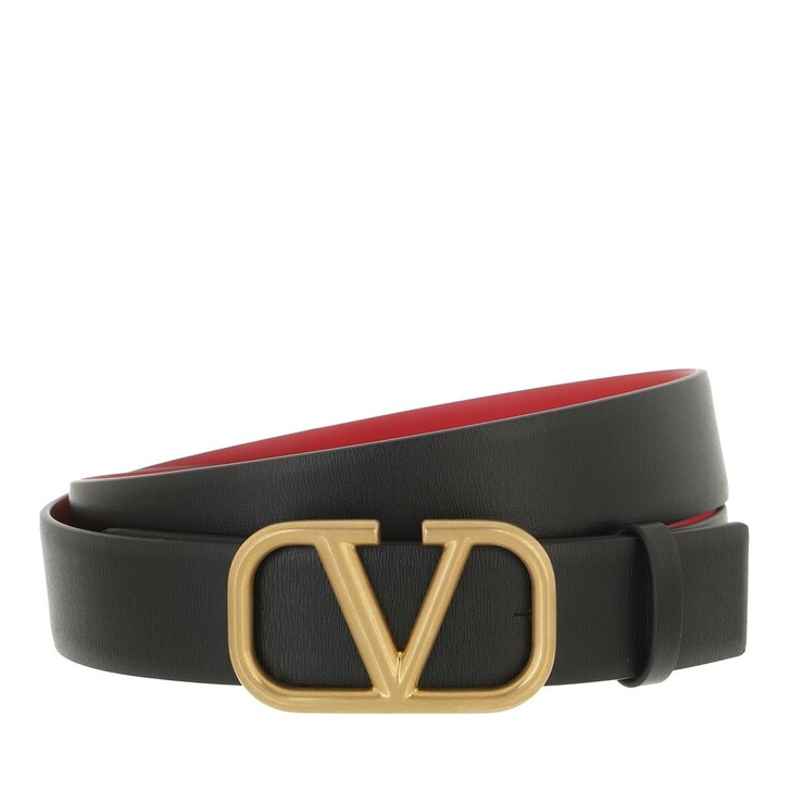 belts, Valentino Garavani, Reversible Belt Leather Black/Red
