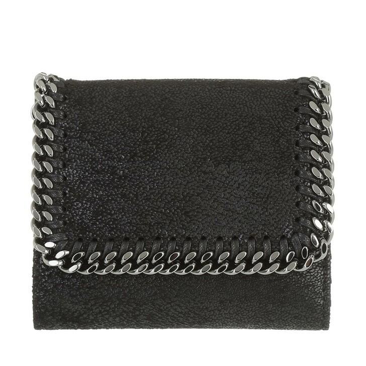 Geldbörse, Stella McCartney, Falabella Small Flap Wallet Shaggy Deer Black