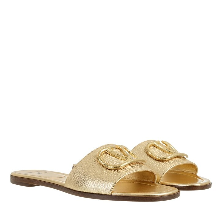 Schuh, Valentino Garavani, V Logo Slides Metallic Leather Gold
