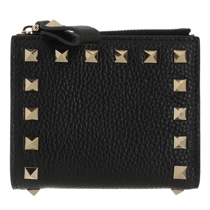 wallets, Valentino Garavani, Rockstud Flap French Compact Wallet Leather Black
