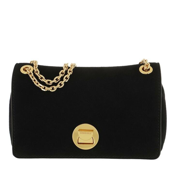 bags, Coccinelle, Liya Handbag Suede Leather Noir/Noir