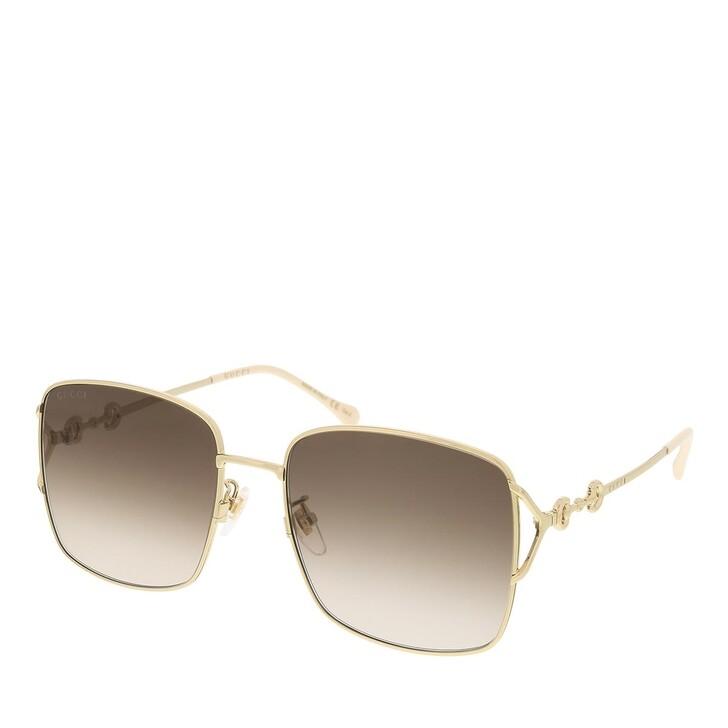 sunglasses, Gucci, GG1018SK-003 58 Sunglass Woman Metal Gold-Gold-Brown