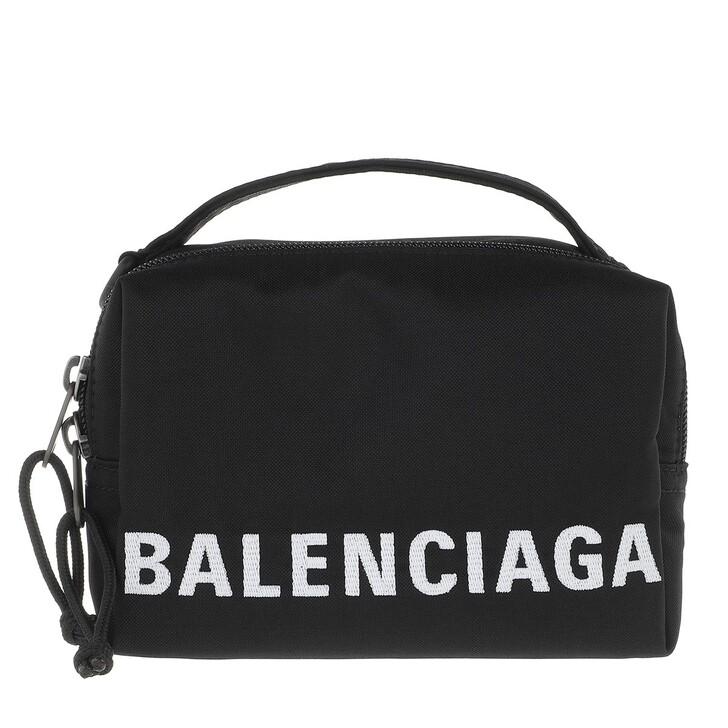Handtasche, Balenciaga, Wheel Logo Belt Bag Black White