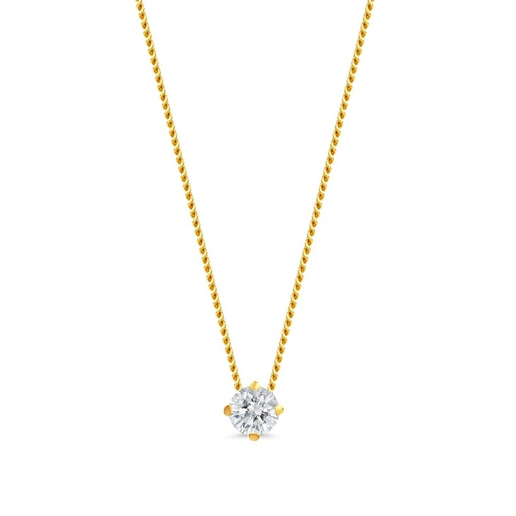 necklaces, DIAMADA, 14KT 0.1ct Diamond Solitaire Necklace  Yellow Gold