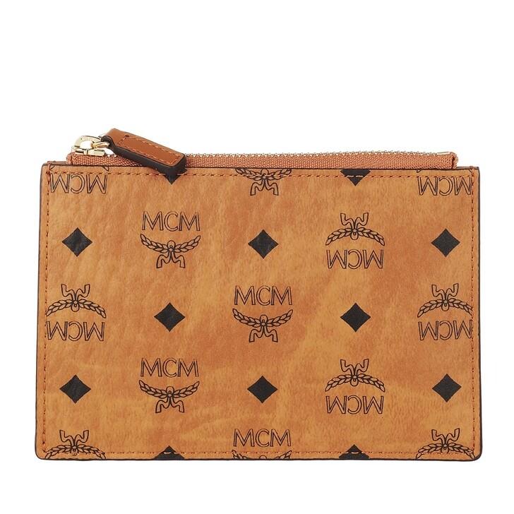 wallets, MCM, Visetos Original Mini Key Pouch (Pu) Cognac