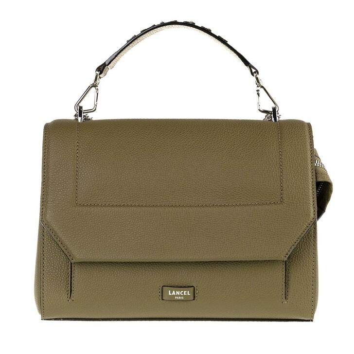 Handtasche, Lancel, Ninon Grained Leather Flap Bag Large Kaki