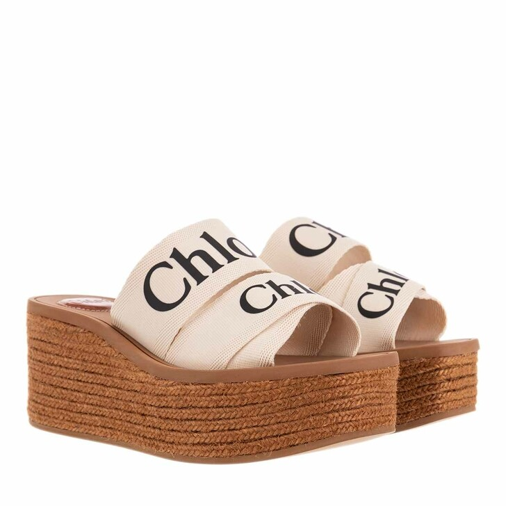 Schuh, Chloé, Woody Wedged Sandals Canvas White