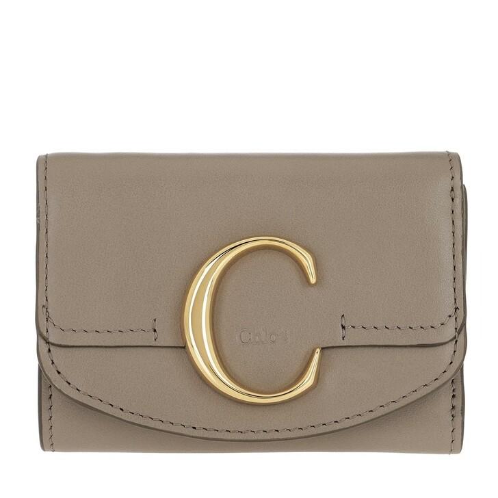 Geldbörse, Chloé, C Folding Wallet Leather Motty Grey