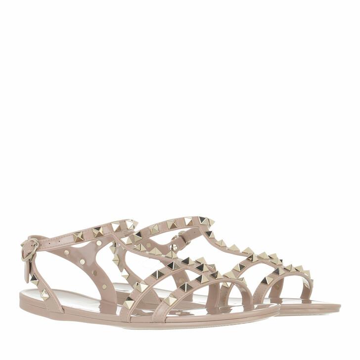 shoes, Valentino Garavani, Rockstud Flat Sandals Soft PVC Poudre