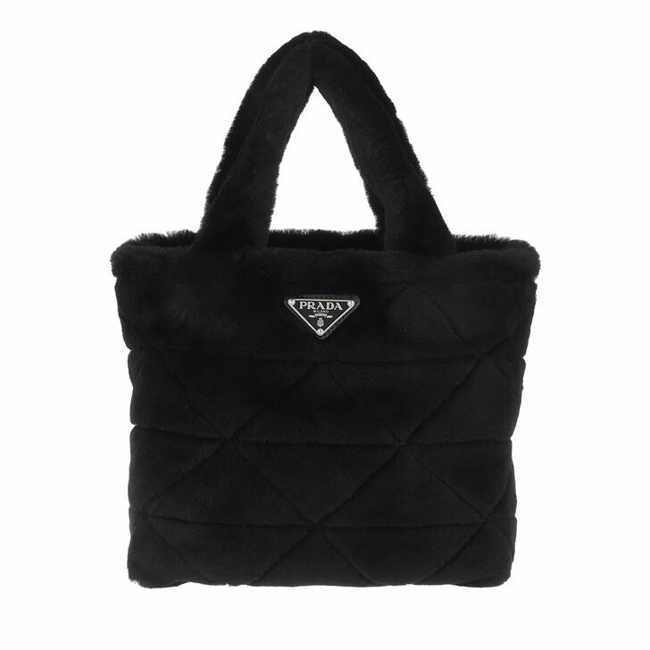 bags, Prada, Tote Bag Shearling Black