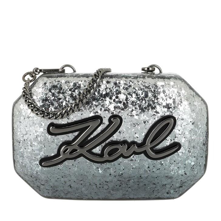 Handtasche, Karl Lagerfeld, Shine Minaudiere Gunmetal