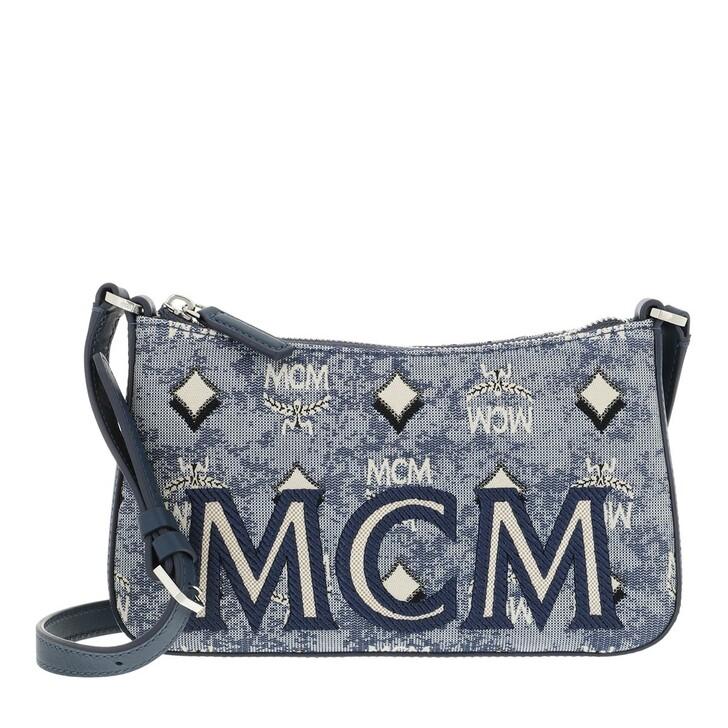 bags, MCM, Visetos Jacquard Shoulder Mini Bag Blue