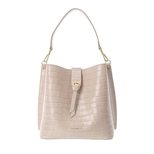 coccinelle -  Beuteltasche - Alba Croco Shiny Soft Bucket Bag - in beige - für Damen