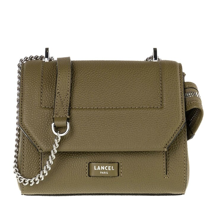 Handtasche, Lancel, Ninon Grained Leather Flap Bag Small Kaki