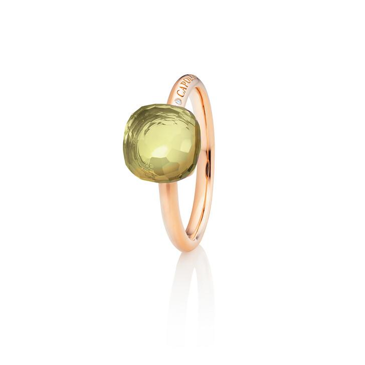 "rings, Capolavoro, Ring ""Happy Holi"" 18K Rose Gold, Lemon Quartz"