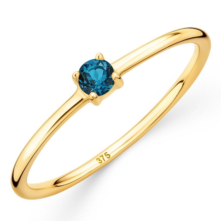 rings, DIAMADA, 9K Ring with Topaz Yellow Gold and London Blue