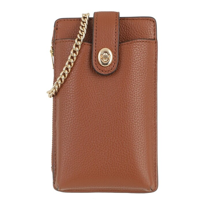 Smartphone/Tablet case (Case), Coach, Turnlock Chain Phone Crossbody Pebbled Leather Saddle
