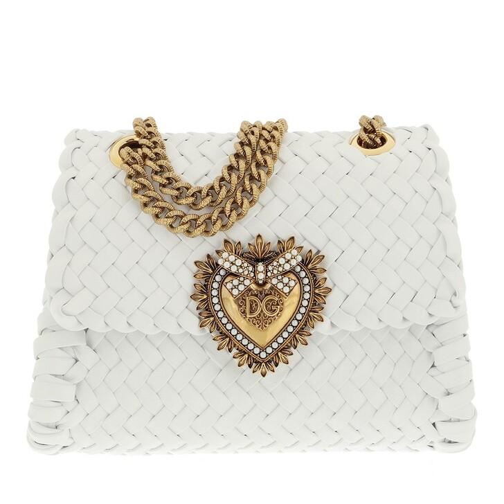 bags, Dolce&Gabbana, Small Devotion Crossbody Bag Woven Calfskin Optical White