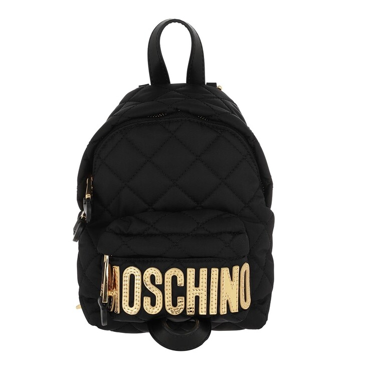 Reisetasche, Moschino, Quilted Backpack Fantasia Nero