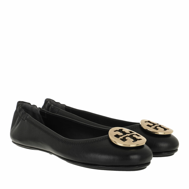 Schuh, Tory Burch, Minnie Travel Ballet With Metal Logo Perfect Black / Gold