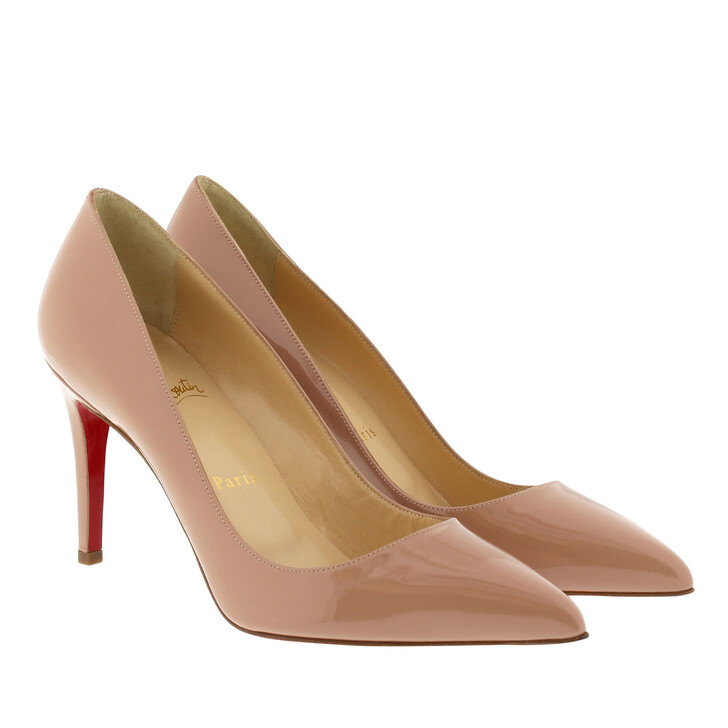 shoes, Christian Louboutin, Pigalle 85 Patent Pump Nude